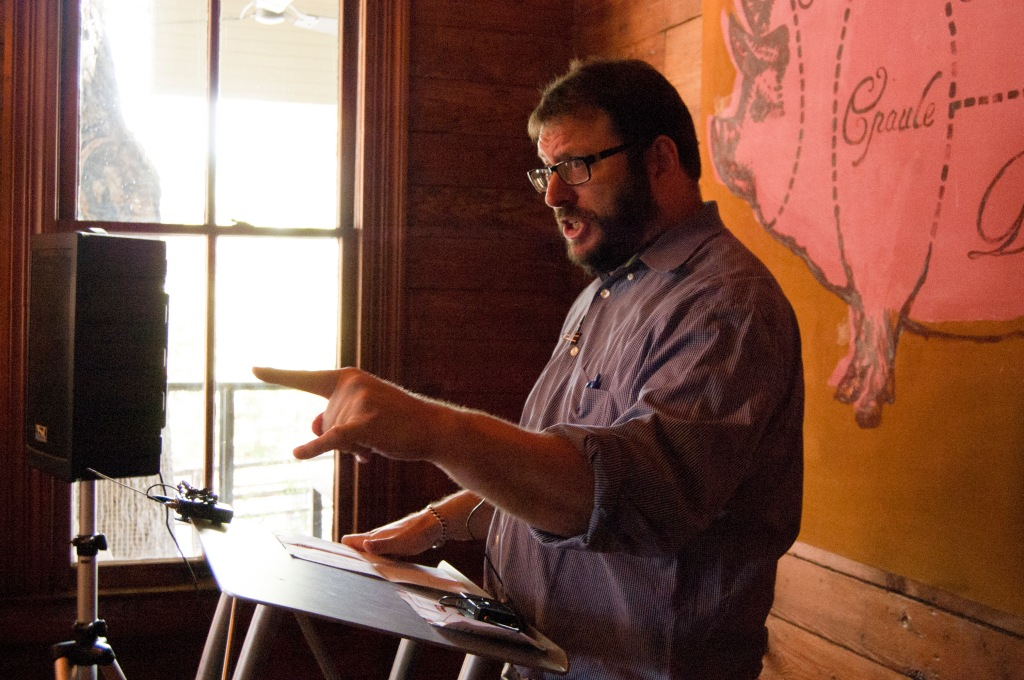 Joshua Ozersky speaks at Meatopia Conference at the Granary at the Pearl Brewery, in San Antonio, Texas