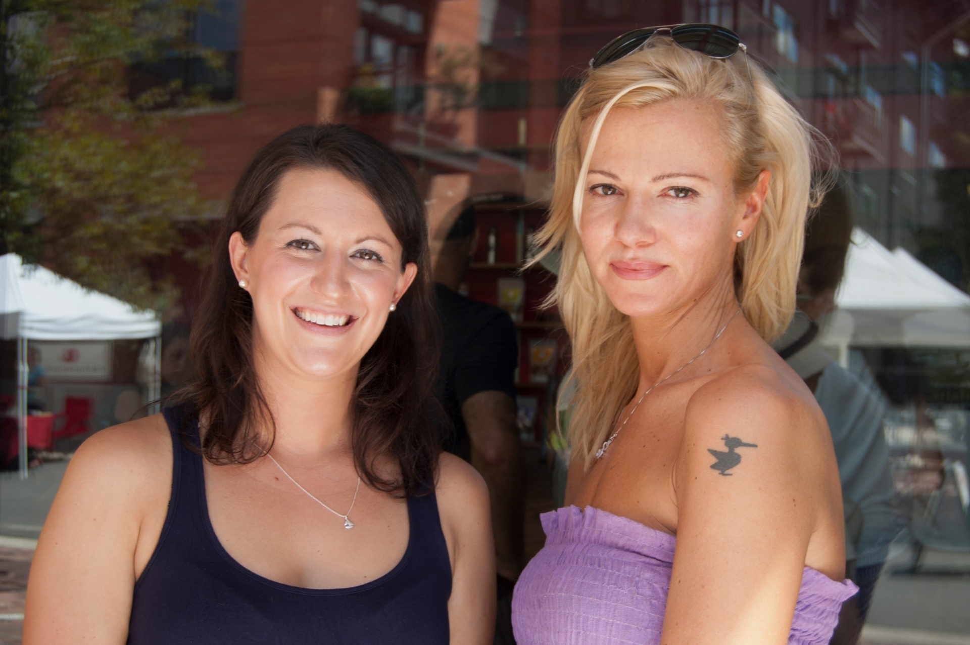 (L to R:)Emily Melngailis with One Lucky Duck founder, Sarma Melngailis at the Grand Opening of One Lucky Duck Texas.